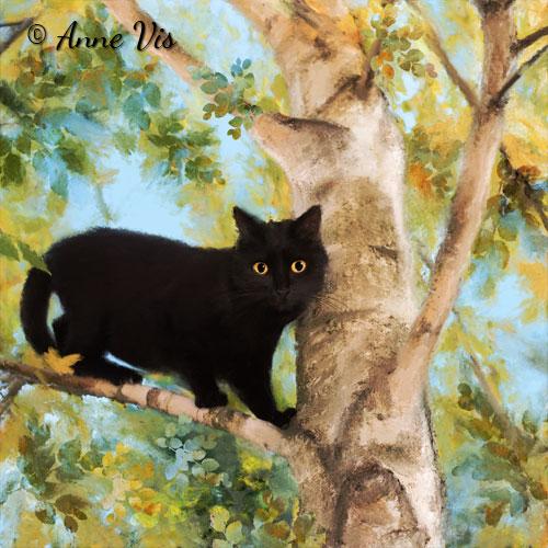 Black Cat in Tree