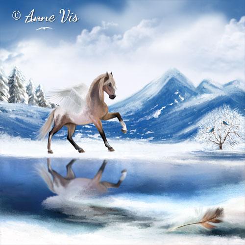 Angel Horse in Winter Wonderland