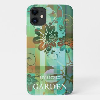 Artistic green floral abstract personalized phone case
