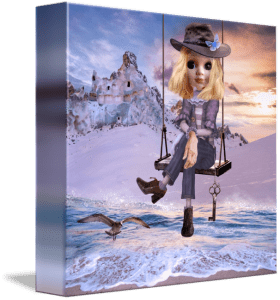 Surreal art painting featuring a doll on a swing in a fantasy landscape