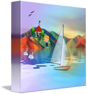 Colorful primitive summer landscape art with sailboat