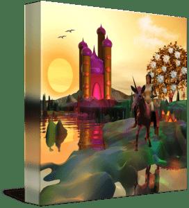 Fantasy landscape with fairy tale castle and unicorn