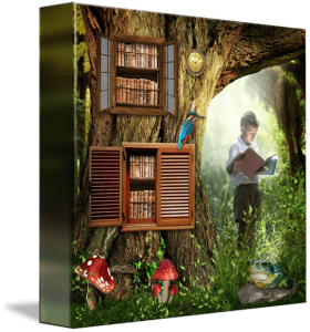 Enchanted forest painting with a magical tree with books