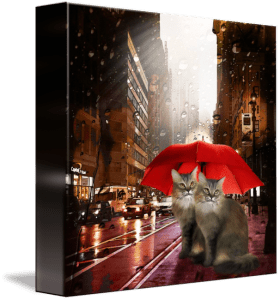 painting with cats under a red umbrella