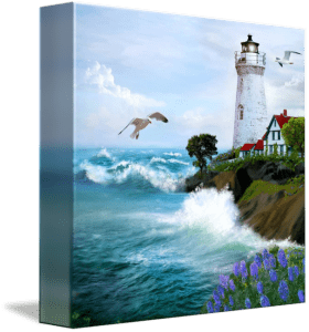 Seascape with Lighthouse Art