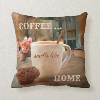 Coffee and muffin rustic painting pillow