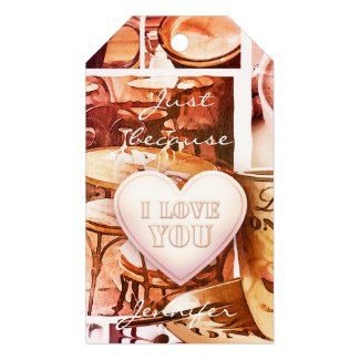 Coffee collage heart personalized gift tag