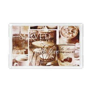Vintage coffee watercolor romantic serving tray