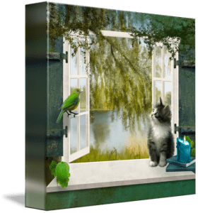 A room with a view - surreal cat art