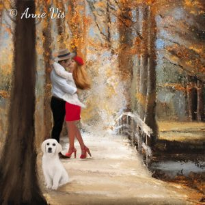 Romantic fine art painting of a couple in love with a dog