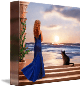 Watching the Sunset Together - fine art painting