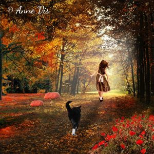 The girl with the cat in a fall forest - art