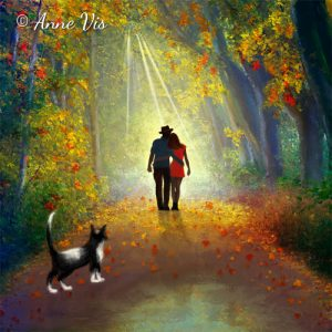 Walking the Cat - romantic fine art forest painting