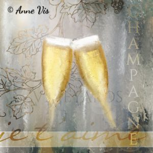 Cheers to Love -fine art champagne painting by Anne Vis