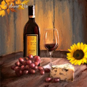 Still life with wine - fine art by Anne Vis
