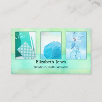 Turquoise abstract watercolor art photo business card