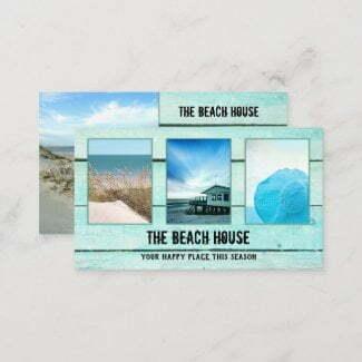Your 4 photos aqua turquoise wood business card