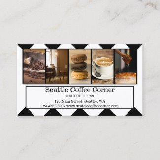 Black and White Custom Photos Coffee Business Card