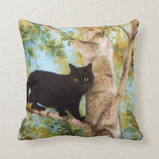 Black Cat inTree Fine Art Pillow