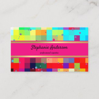 Bright Checkered Colorful Confetti Business Card