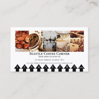 Coffee Photo Loyalty Punch Card Business Card