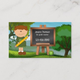 Cute Landscape Chalkboard Cartoon Teacher Business Card