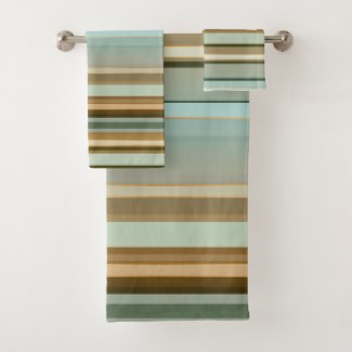 Elegant Nature Inspired Multicolor Striped Pattern Bath Towel