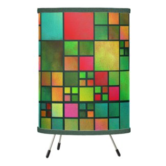 Geometric Mosaic Red Green Watercolor Pattern Lamp