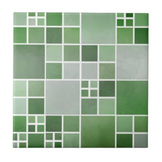 Green Watercolor Checkered Geometric Bathroom Tile