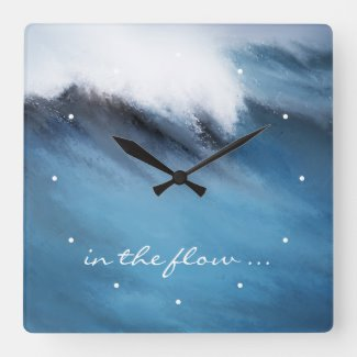 In the Flow Surfers Wave Wall Clock