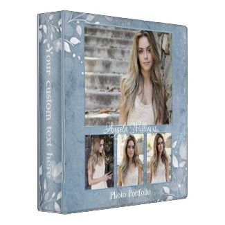 Elegant dusty blue floral photo portfolio binder