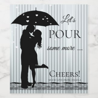 Funny Raining Hearts Valentine's Day Wine Label