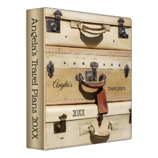 Personalized Vintage Suitcases Travel Binder