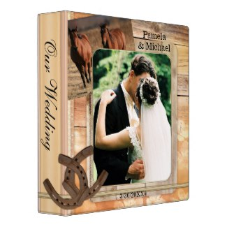 Rustic Country Horses Wedding Album Binder