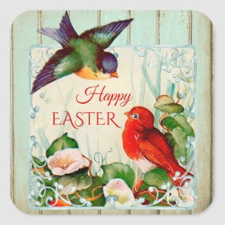 Cute Vintage Spring Birds Floral Easter Sticker