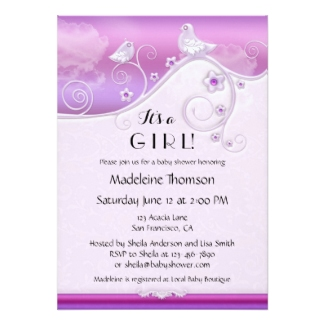 Lilac Floral Bird Baby Shower Invitation