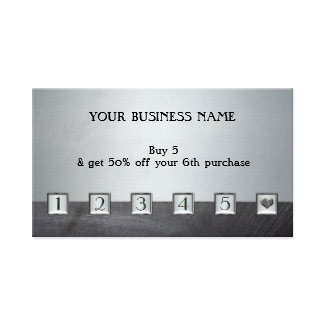 Silver Metallic Loyalty Punch Business Card