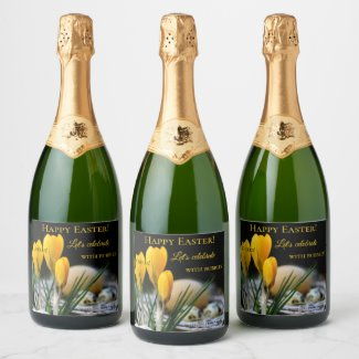 Spring Easter Crocus Flowers Bubbles Champagne Label