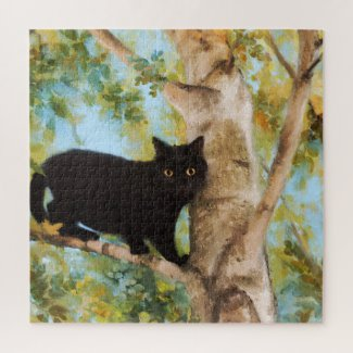 Cute Black Cat in Tree Fine Art Puzzle