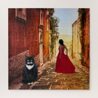 Lady in Red Tuxedo Cat Italian Fine Art Painting Puzzle