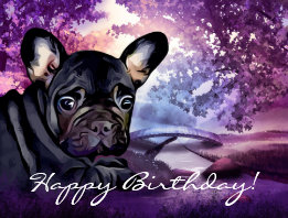 Colorful French Bulldog Birthday Postcard
