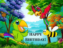 Colorful Parrot in the Junge Kids Birthday Postcard
