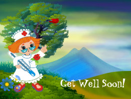 Cute Nurse Landscape Kids Get Well Soon Postcard