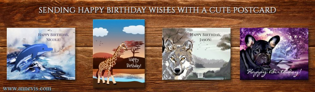 Cute animal birthday postcards