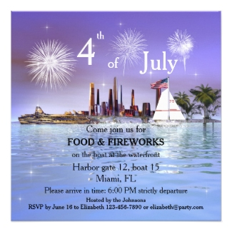 4th of July waterfront fireworks invitation
