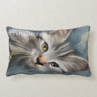Blue Grey Fine Art Kitten Pillow