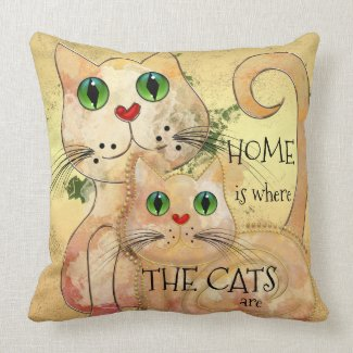Cute Cats Original Fine Art Pillow