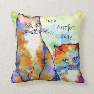 Colorful Art Painted Cats Pillow