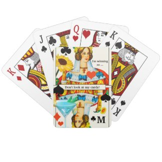 Funny Queen Cocktail Glass Playing Cards Deck