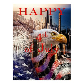 Happy 4th of July postcard